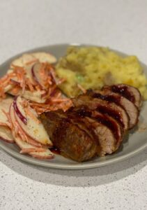 Sweet and Smokey Pork Tenderloin with Apple Carrot Slaw and Mashed Potatoes