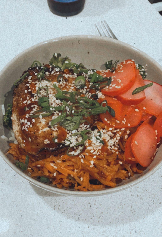 Veggie Bibimbap Rice Bowls with Sweet Sesame Sauce & a Fried Egg