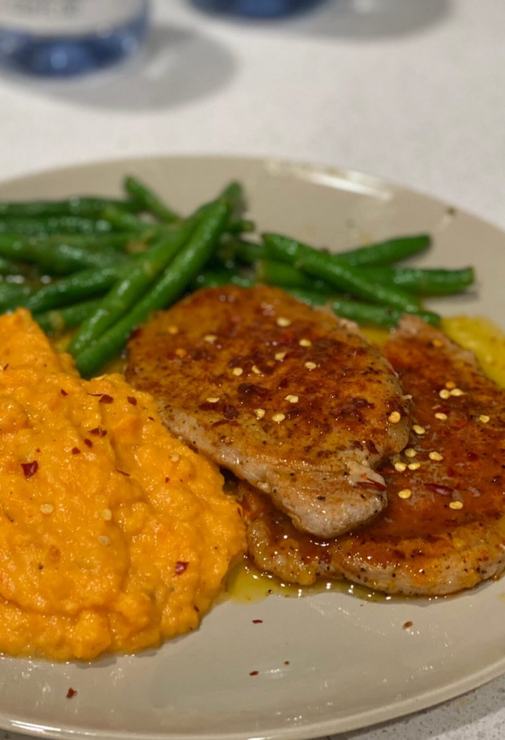 Honey Butter BBQ Pork Cutlets with Mashed Sweet Potatoes & Lemony Green Beans